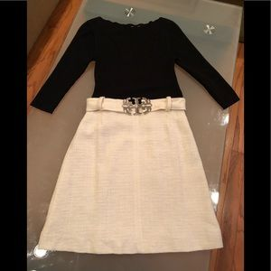 Tory Burch Black and Cream Belted Dress